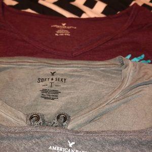 Three American Eagle shorts sleeve shirts